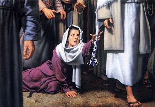 grabbing Jesus' tzitzit